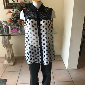 GIANNI BINI POKA DOT LACE BLOUSE